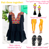 Black & Multicolor Embroidered Sleeveless Peplum Top