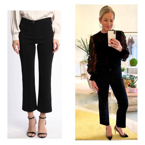 Black Slim Fit Cropped Flare Front Seamed Trouser Pants with Pockets