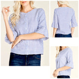 Blue White Stripe Button Down 1/2 Length Bell Sleeve Top