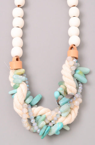Mixed Aqua Natural Stone and Rope Twist Necklace with Faux Leather and Wood Accents