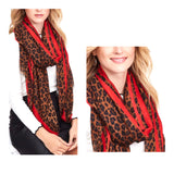 Red or Pink Leopard Print Scarf OR Wrap