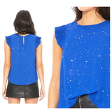 Royal Blue & Metallic Silver Star Print Accordion Sleeve Top with Keyhole Back
