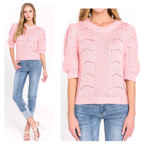 Pink Open Knit Puff Sleeve Summer Weight Fine Knit Sweater with Banded Waist