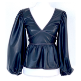 Black Vegan Leather Balloon Sleeve Peplum Top with Ivory Contrast Stitching