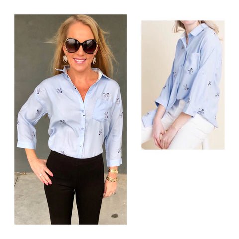 Light Blue Button Down Roll Tab Sleeve Pique Top with Embroidered Ditzy Zebras