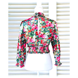 Black Red Pink Blue Floral Smocked Ruffle Neck Top