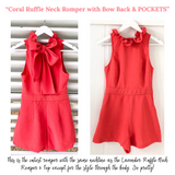 Coral Ruffle Neck Romper with Bow Back & POCKETS