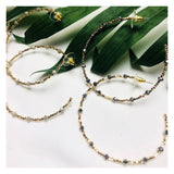 Gold Beaded Metallic Hoops in Mauve, Light Grey or Graphite Grey
