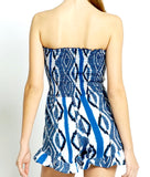 Blue & White Ikat Print Romper with Ruffle Hem & Smocked Bust