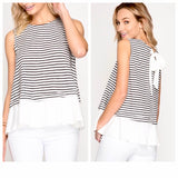 Mocha OR Navy Stripe Sleeveless Peplum Top with Bow Back(!)
