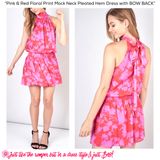 Pink & Red Floral Print Mock Neck Pleated Hem Dress with BOW BACK
