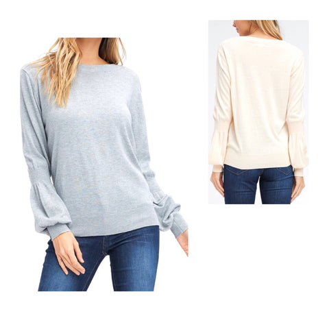 Cream OR Heather Grey Puff Sleeve Knit Top with Banded Sleeve & Hem Contrast