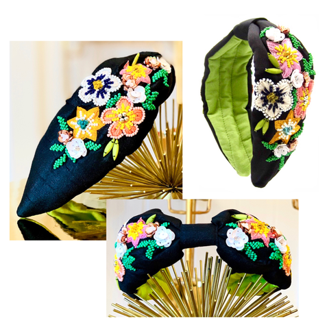 Black & Lime Contrast Beaded Flower Top Knot Headband