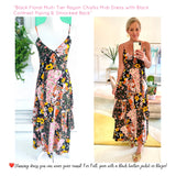 Black Floral Multi Tier Rayon Challis Midi Dress with Black Contrast Piping & Smocked Back