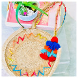Handmade Jute Tote with All Over Rainbow ZigZag Embroidery & Optional Tassel