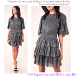 Designer Inspired Metallic Silver Lurex & Black Smocked Waist Ruffle Dress with Keyhole Back