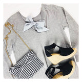 Light Grey Soft Long Sleeve Wool Blend Sweater Dress with Silk Bow Back