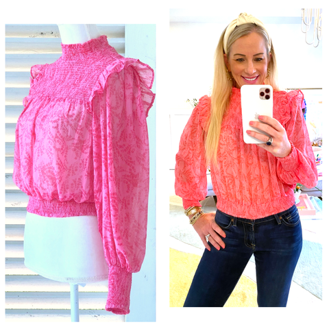 Flamingo Pink Smocked Waist Ruffle Trim Top with Open Keyhole Back