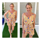 Marigold & White Cabana Stripe Abstract Design Paper Bag Shorts with Tie Waist
