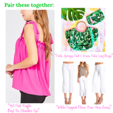 Troop Palm Springs Pink & Green Palm Leaf Shirred Tote Bag with Wooden Top Handle
