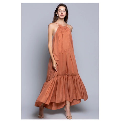 Jewel Tone Copper Ruched Ruffle Trim U-Back Maxi Dress with Tiered Ruffle Hem