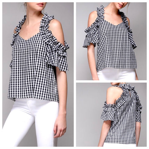 Black Gingham Cold Shoulder Ruffle Top