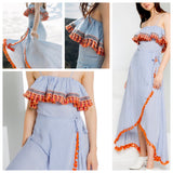 Blue Stripe Spaghetti Strap Maxi Dress with Orange Tassels