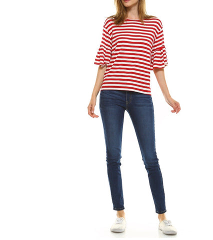 Red White Stripe 3/4 Bell Sleeve Top