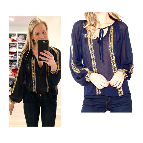 Sapphire Blue & Gold Embroidered Tunic Top
