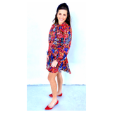 Black Red Blue Floral Print Dress with METALLIC ACCENTS & Optional Tie Neck