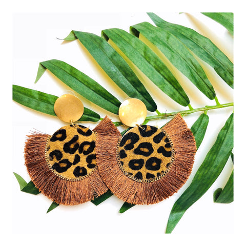 Brushed Gold & Faux Hide Leopard Fringe Earrings