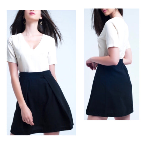 Black & Ivory Short Sleeve A-Line Dress with Pleated Front Skirt