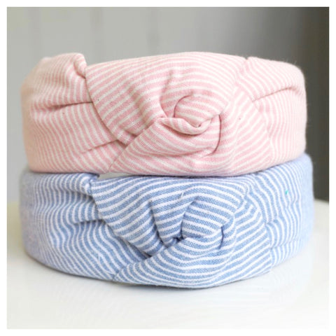 Pink OR Blue & White Stripe Top Knot Headbands