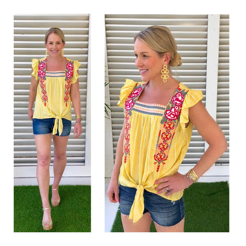 Yellow Textured Dot Embroidered Tie Front Ruffle Sleeve Top