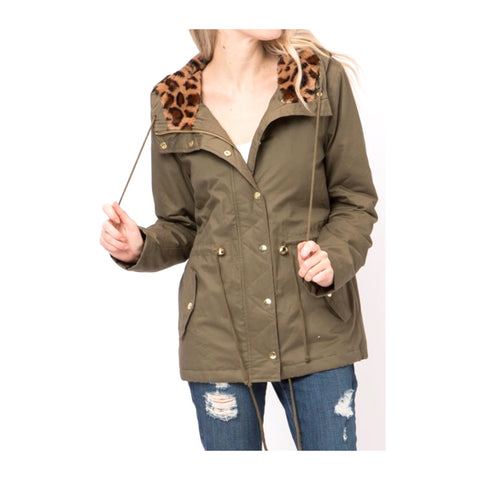 Olive Cinch Waist Utility Jacket with Leopard Fur Hood Lining & Quilted Interior Lining