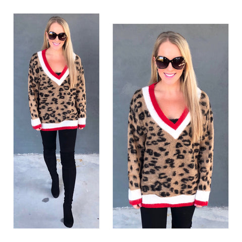 Leopard Brushed Knit Sweater with Red White Varsity Stripe Contrast