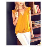 Marigold Flutter Sleeve Faux Wrap High Low Hem Top