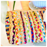 Handmade Braided Jute Tassel Clutches in Rainbow or Natural