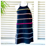 Black Embroidered Rainbow Ladder Trim Sleeveless Shift Dress with Keyhole Back