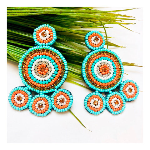 Orange & Turquoise Beaded Circle Earrings