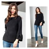 Black Knit Swing Sweater with Flared Tie Sleeves