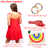 Tomato Red Textured Linen Tiered Dress with Shoulder Ties