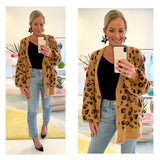 Taupe & Black Fuzzy Knit Button Down Balloon Sleeve Cardigan