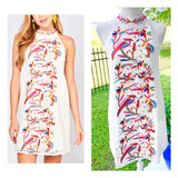 White Crochet Lace Embroidered Birds of Paradise Halter Dress with Bow Back