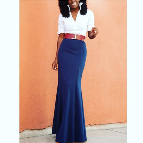 Navy and White Shirt Collar Maxi Dress (belt not included)