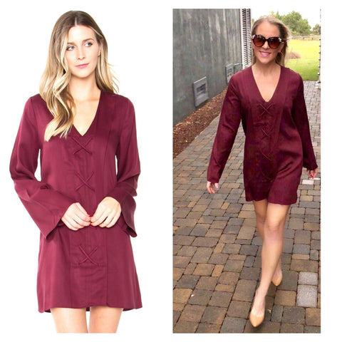 Wine Red Bell Sleeve Shift Dress with Crisscross Front Detail