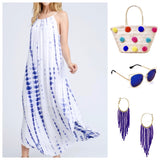 White Halter Maxi with Royal Blue TieDye