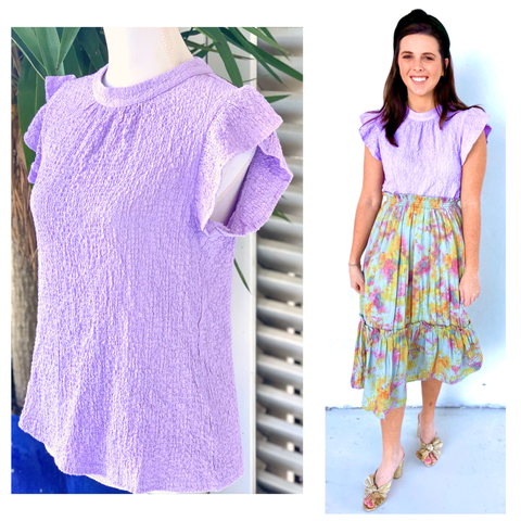 Lilac Ruffle Sleeve Woven Top with Keyhole Back