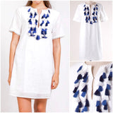 White Short Sleeve Shift Dress with Blue Contrast Tassels & Hook & Eye Front Closure & Keyhole Back