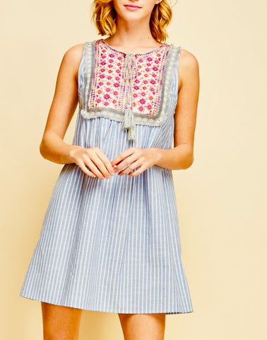 Blue Stripe Sleeveless Babydoll Dress with Tassel Tie
